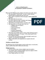 Advice on Final Exam BUS70104 - April 2015