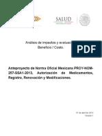28958.177.59.1.C-B Anteproyecto NOM 257 Registros de Medicamentos 10 de Abril de 2013