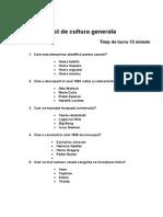 Test de Cultura Generala