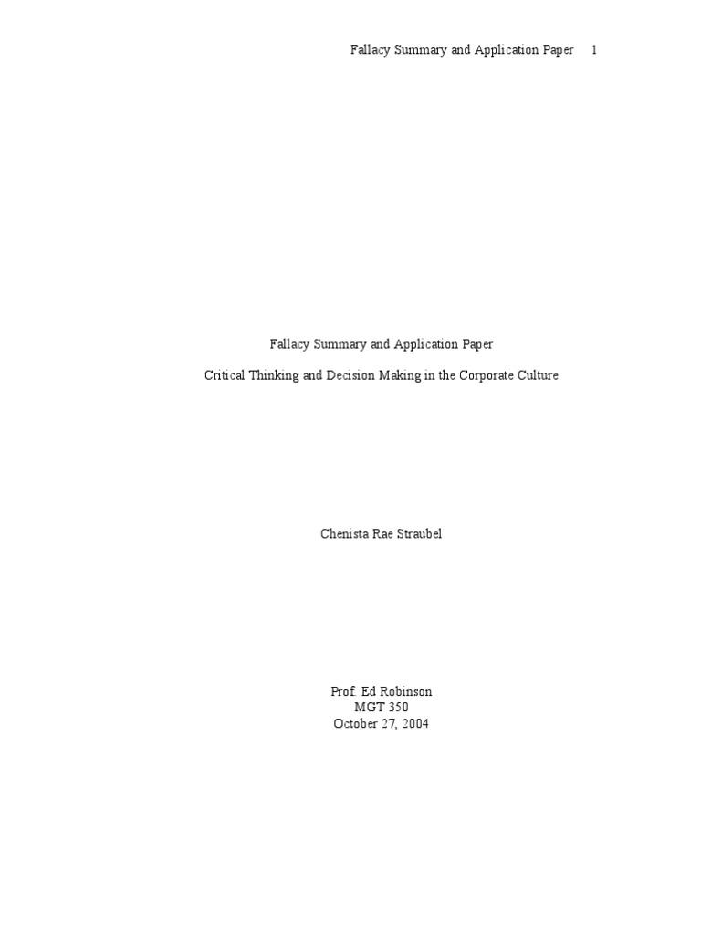 Critical Thinking Application Paper | blogger.com