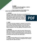 Critical Studies Sheet