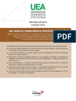 Prova Vestibular UEA 2014