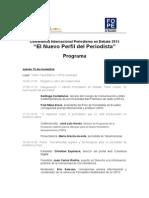 Agenda de la Conferencia Periodismo en Debate 2015