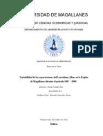 Variabilidad de las exportaciones del Loxechinus Albus en la Región de Magallanes durante el periodo 2007 – 2009