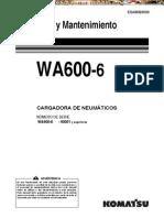 Manual Operacion Mantenimiento Cargador Frontal Wa600 6 Komatsu