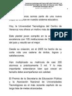"""04 10 2012 - Ceremonia de Entrega del Premio SEP-ANUT 2010-2011 a la Universidad Tecnológica del Centro de Veracruz como """"Mejor Universidad Tecnológica del País""""."""