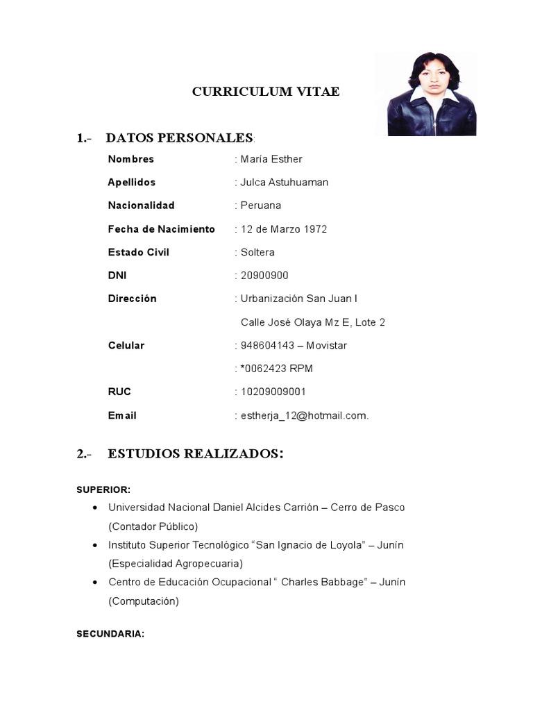 Curriculum Vitae Julca Astuhuaman Maria Esther 1