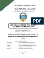 Informe Indicadores de Evaluacion - Educacion