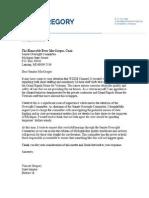 Sen. Vincent Gregory letter to Sen. Peter MacGregor