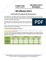 JEE Main 2015 Analysis by Resonance Eduventures v1