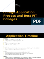 college application process and best fit colleges professional program