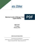 Maximum Levels of Nitrogen Trichloride in Liquid Chlorine