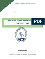 Variables en Los Proyectos de La Construcciòn