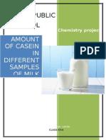 amount of casein in different milk samples
