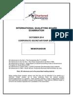 Corporate Secretaryship Memo October 2014