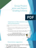 Group Project Presentation Report Grading Criteria