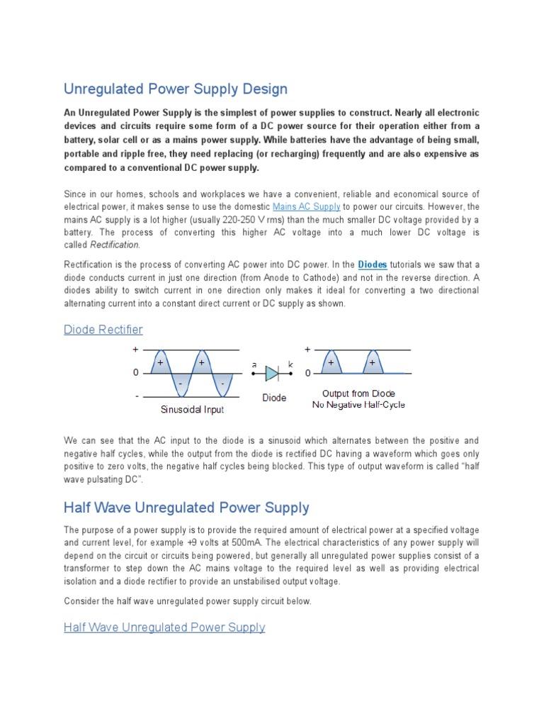 Unregulated Power Supply Design Rectifier Circuit Tutorial