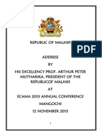 Address by President Arthur Peter Mutharika at ECAMA 2015 Annual Conference Mangochi on 12 November 2015T