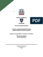 PLIEGO DE CONDICIONES ESPECÍFICAS PARA COMPRA DE BIENES Y SERVICIOS CONEXOS 12112015
