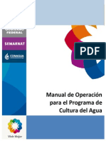 Manual de Operacion Para Cultura Del Agua