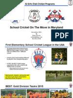 Maryland Schools Cricket Overview