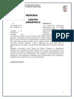 Memoria Descriptiva - Centro Geriatrico
