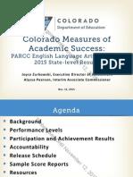 CMAS PARCC Score Release 2015 Board Presentation