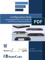 LTRT-54004 Mediant E-SBC SIP Trunking for Microsoft Lync 2013 Configuration Note
