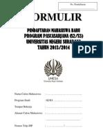 Formulir Pendaftaran Pps Unesa 2013