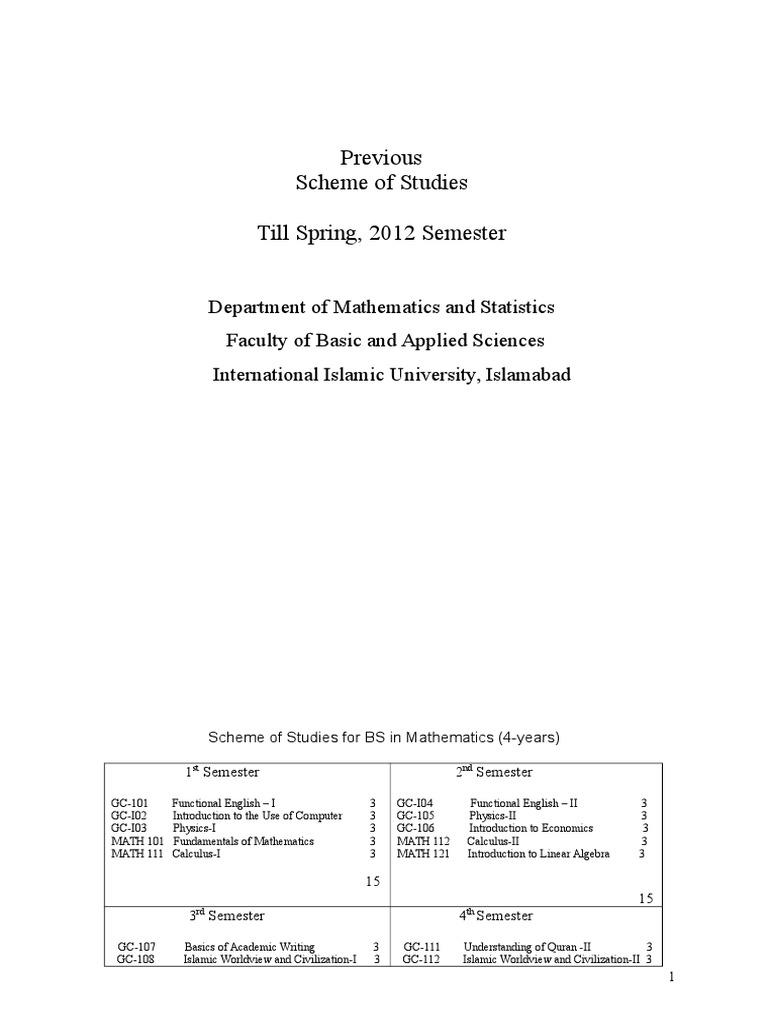 scheme of study from fall 2012 finial physics mathematics