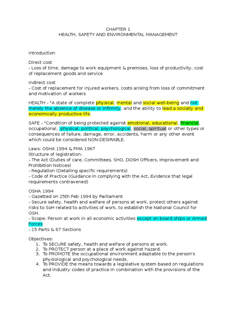 Osha Notes Employment Occupational Safety And Health Administration