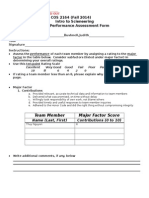 Peer Performance Assessment Form Intro to Scieneering