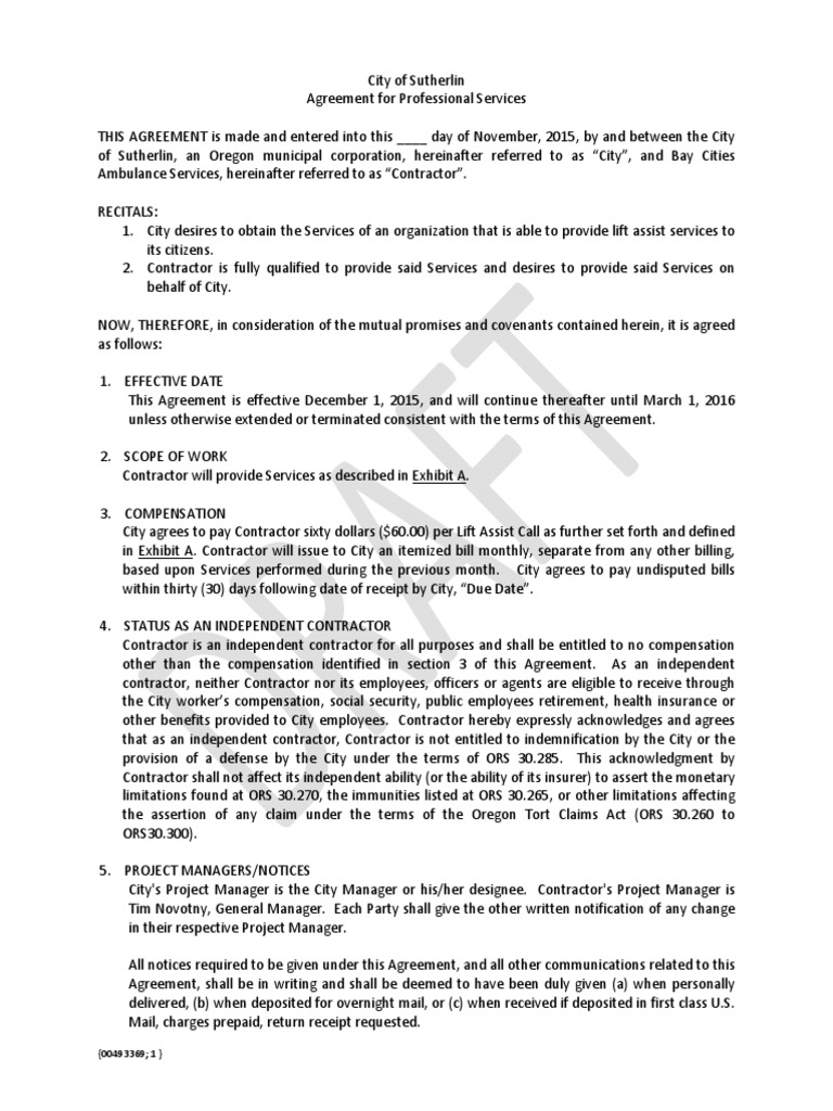 Draft Agreement Indemnity Insurance