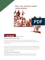 Sri Lanka Politics, Law and the Media - Kishali Pinto-Jayawardena