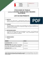 Instrucción de Trabajo 9 - Especificaciones Técnicas Tableros