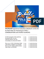 Swe WORSHIP Experience Evaluation CHECKLIST at HIS LIFE Pre Thanksgiving Edition