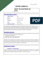 Agent de Maitrise Fabrication Mai 2014