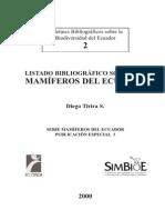 Listado Bibliografico Sobre Los Mamiferos Del Ecuador