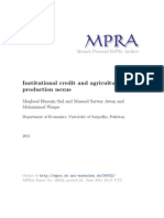 Institutional Credit and Agricultural