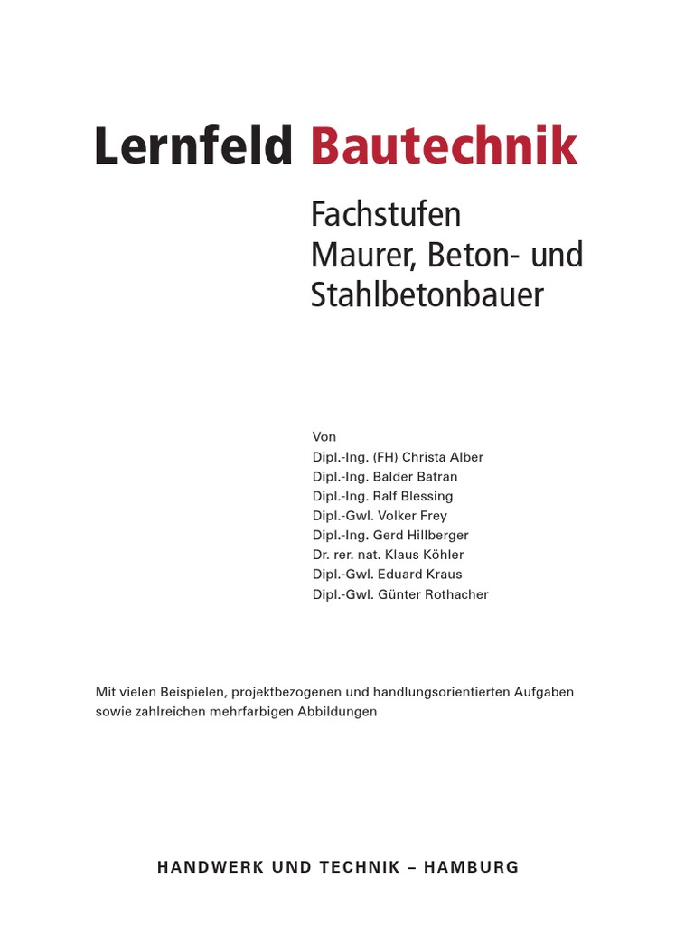 HT3524 Lernfeld Bautechnik – Fachstufen Maurer, Beton- Und ...