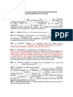 Modelo de Acta de Constitución de Sociedad de Responsabilidad Limitada
