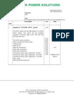 APFC Panel Specifications
