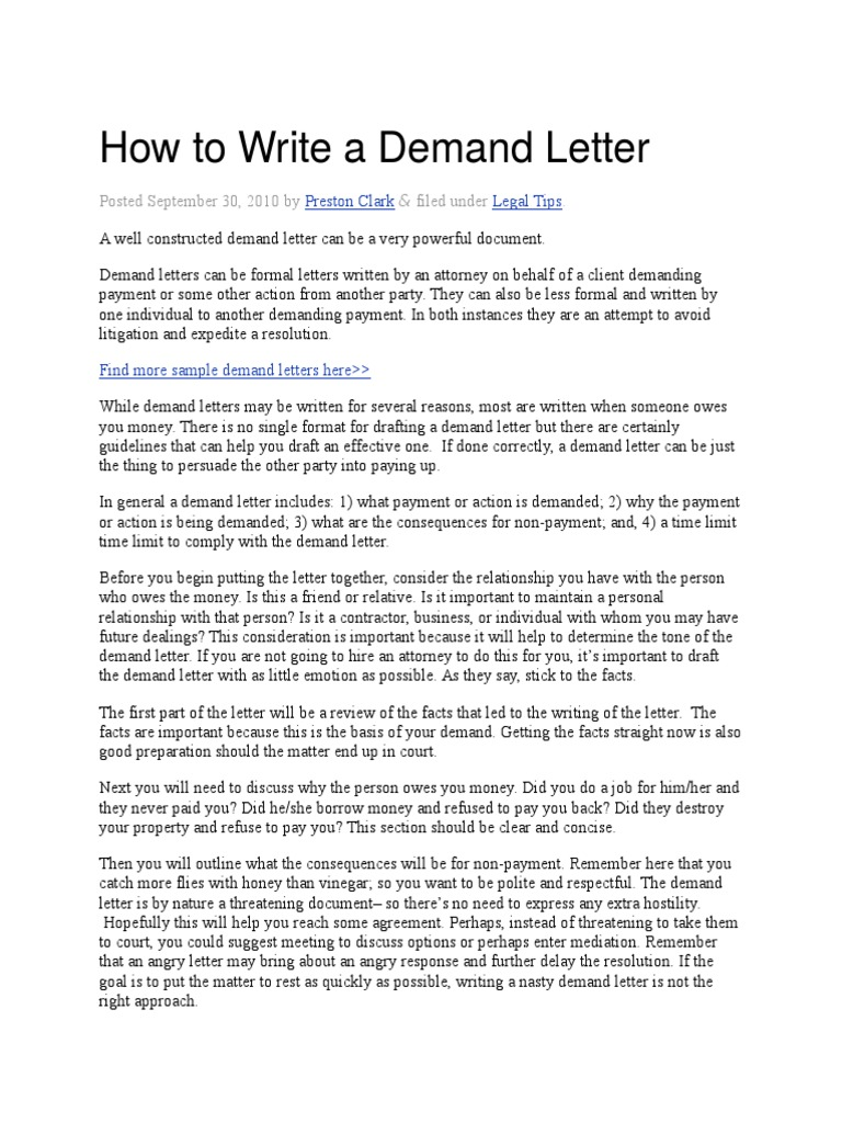 How to write a demand letter eviction lease altavistaventures