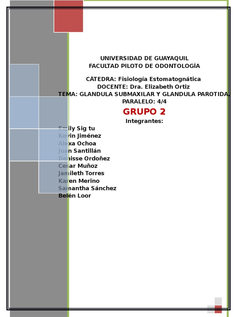 Glandula Submaxilar y Parotida Grupo 2 Segundo Parcial
