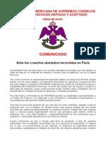 Declaración Atentados en Paris FASCREAA