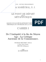 La Point de Depart de La Metaphysique - J. Marechal