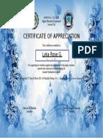 Certificate of Appreciation.. Lykarose
