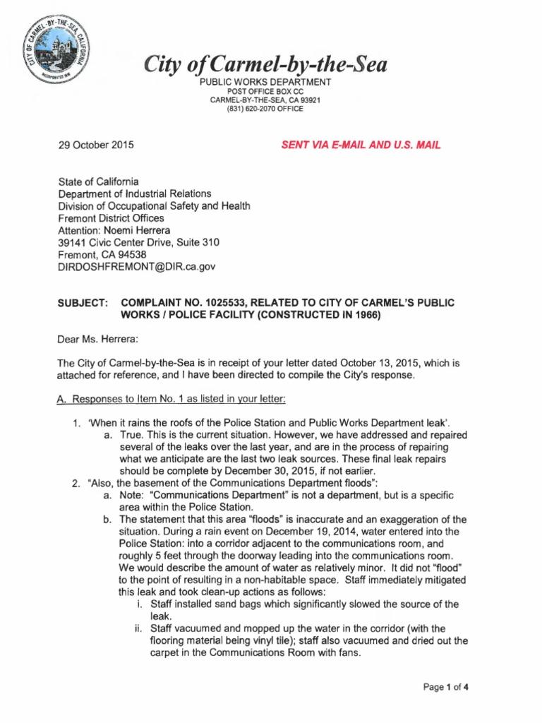 City of carmel response letter cal osha complaint no 1025533 10 29 city of carmel response letter cal osha complaint no 1025533 10 29 15 indemnity liability insurance spiritdancerdesigns Images