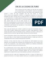 Fundacion de La Ciudad de Puno