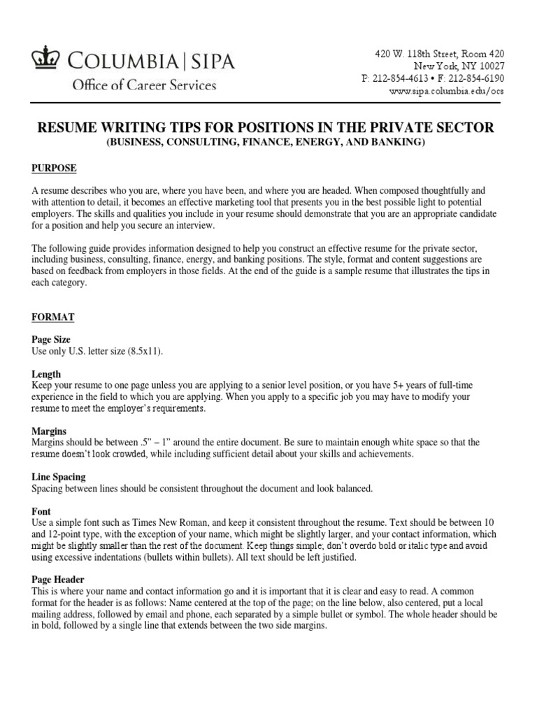 Resume Writing Tips For Positions In The Private Sector Resume